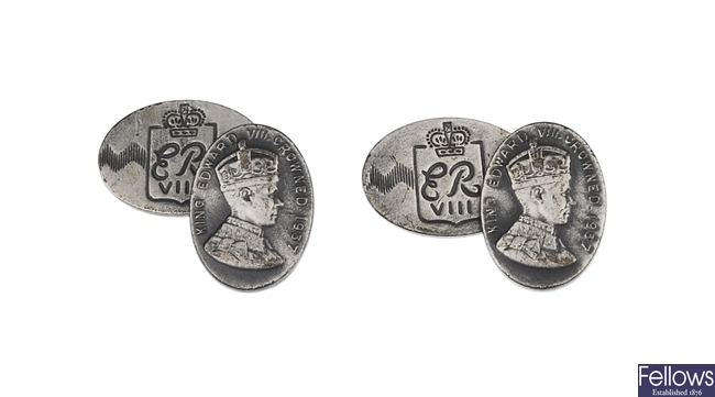 A pair of cufflinks made for the Coronation of