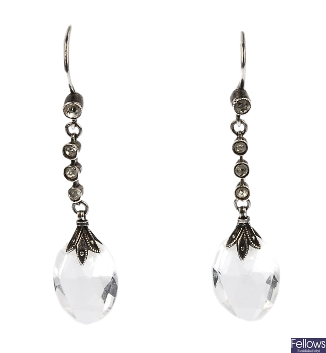 A pair of colourless paste dropper earrings