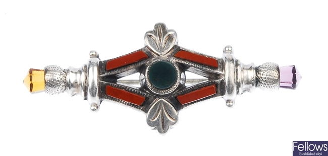 Two silver stone set Scottish brooches to include