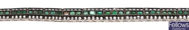 An emerald and colourless paste set bracelet,