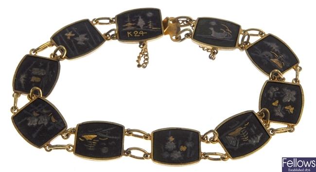 Five Damascene pieces to include four bracelets