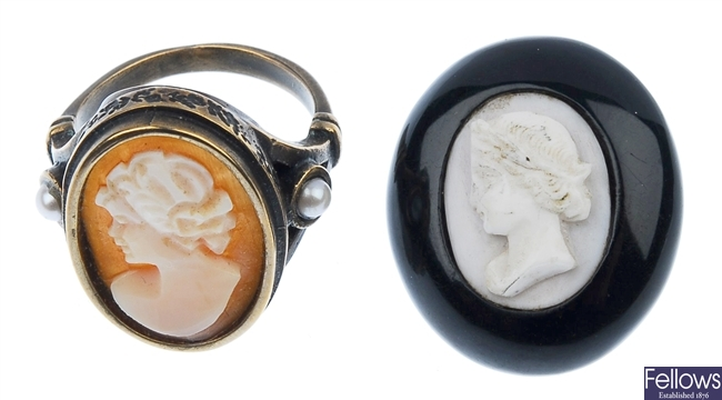 Six shell cameo brooches, a shell cameo ring, a