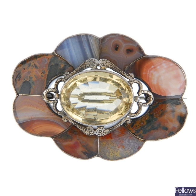 A Scottish citrine and agate brooch.