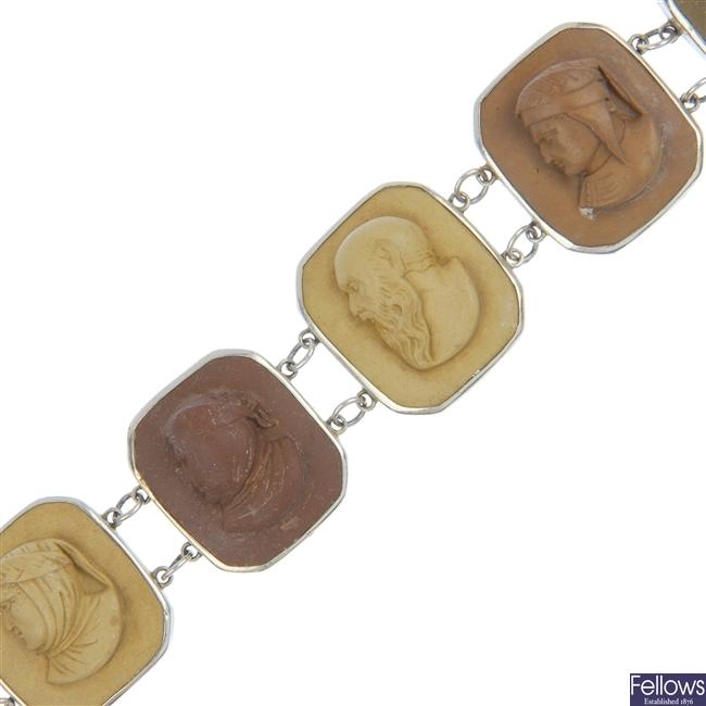 A lava cameo bracelet and a continental cloisonne bracelet.