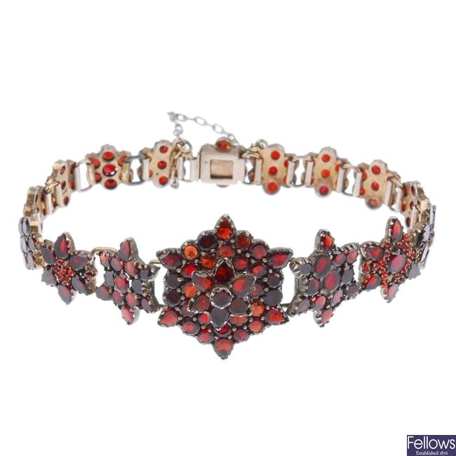 A garnet bracelet.