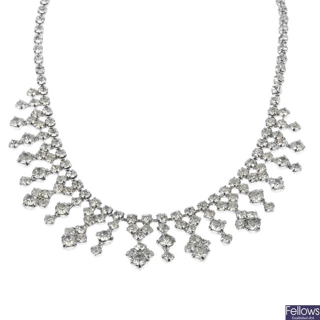 A colourless paste set necklace and bracelet.