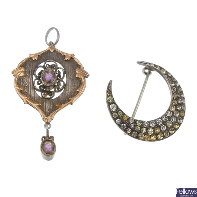 A paste set crescent brooch and a pendant.