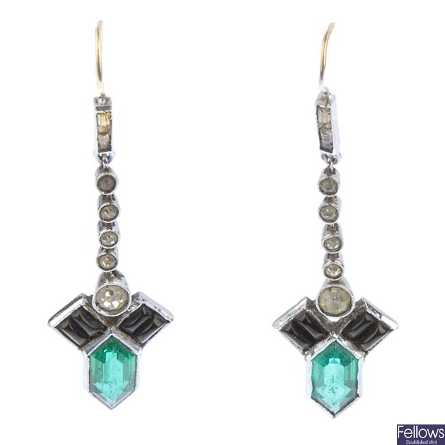 A pair of paste set pendant earrings.