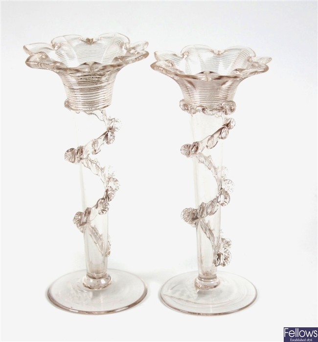 Two Victorian trumpet shaped specimen vases and a large glass ornament