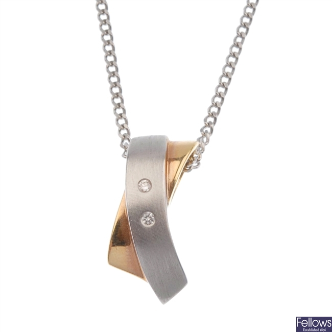 18ct bi-colour gold diamond pendant.