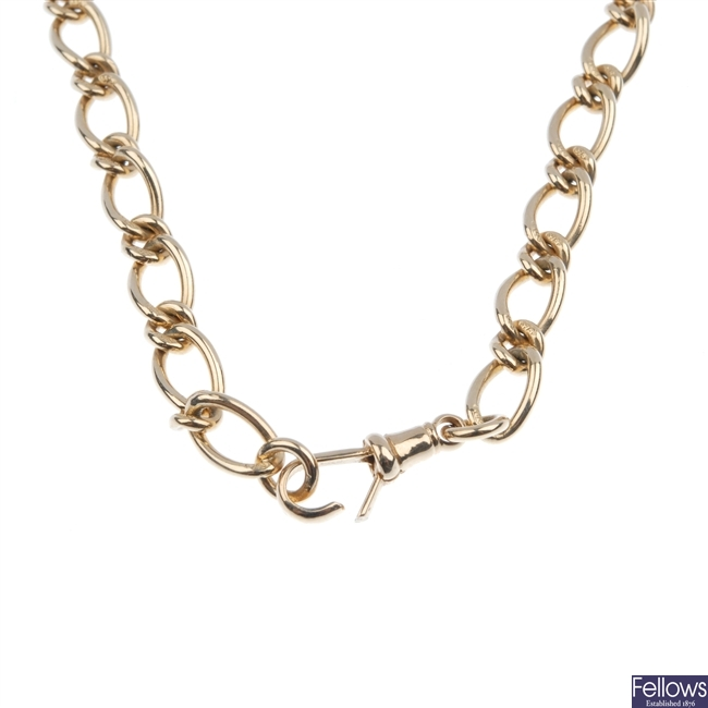9ct gold fancy curb link chain.
