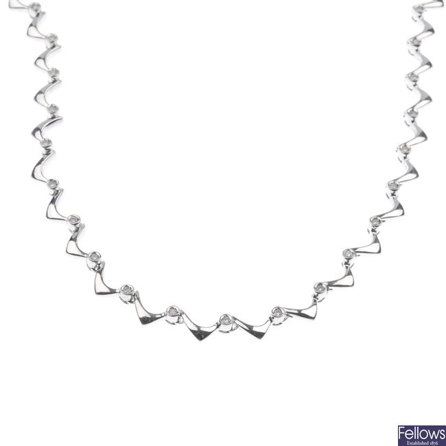 18ct white gold diamond set necklace.