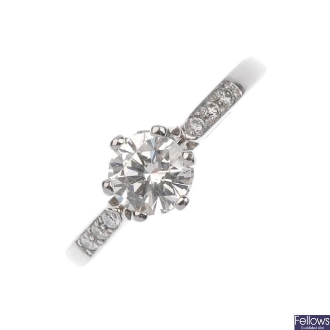 Platinum single stone diamond ring.