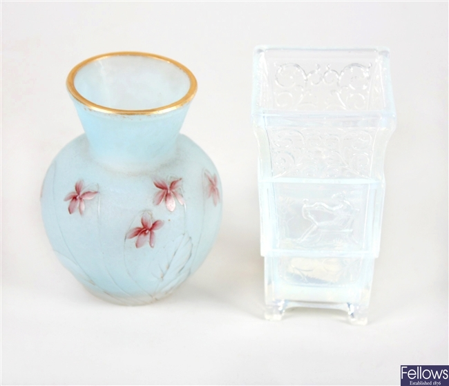 A Daum Nancy frosted blue glass vase and a opalescent pressed glass spill holder