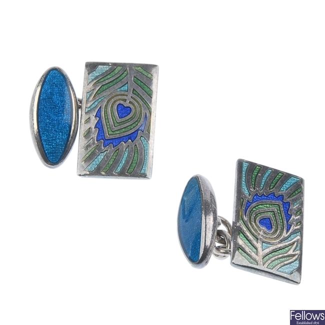 Diamond and lapis ring, cufflinks and enamel locket.