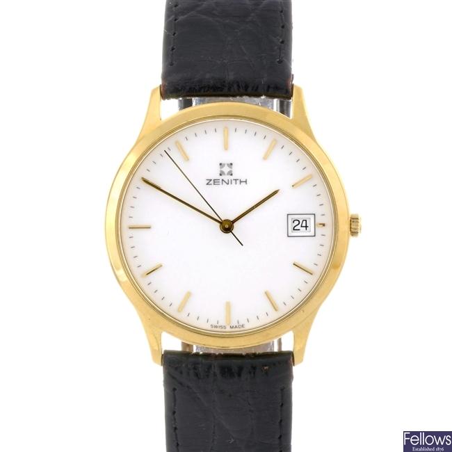 A Zenith gents gold watch.