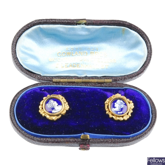 A pair of French porcelian earrings.