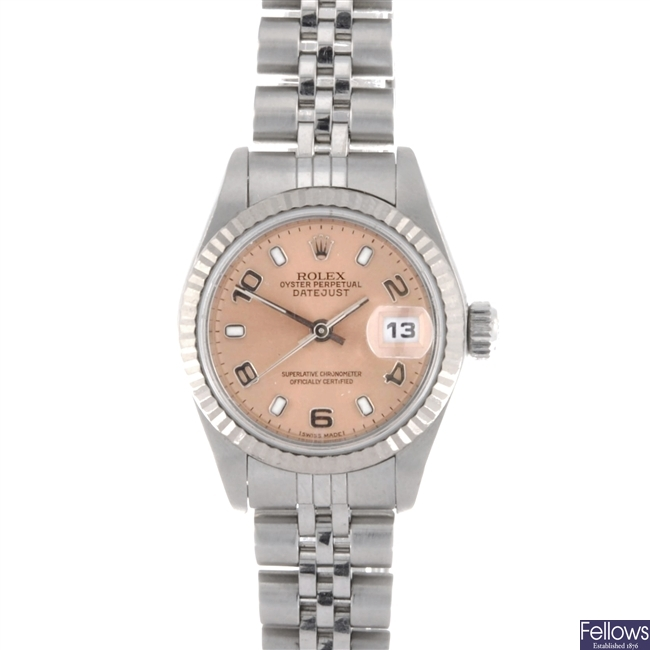 (31353) A stainless steel automatic lady's Rolex Datejust bracelet watch.