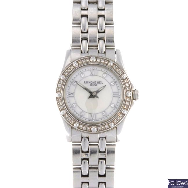 (34111) A stainless steel quartz lady's Tango bracelet watch.