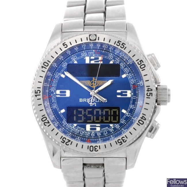 (34623) A stainless steel quartz gentleman's Breitling B1 bracelet watch.