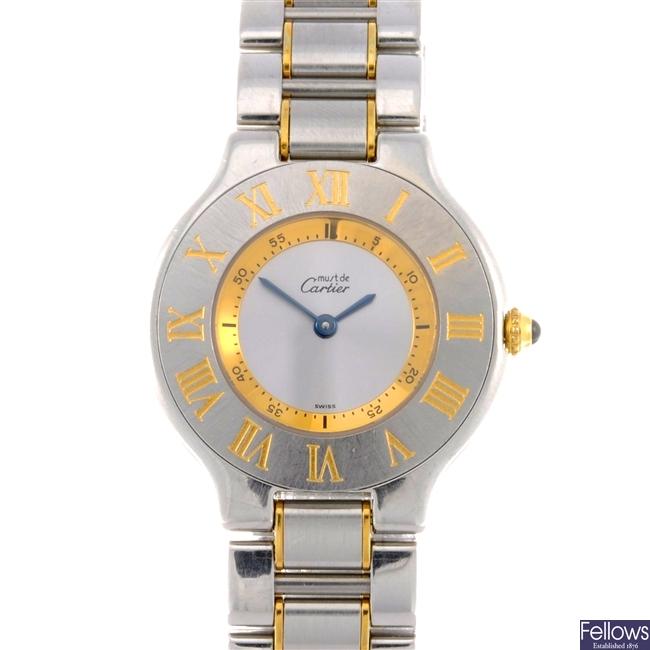 (34903) A bi-metal quartz Must De Cartier bracelet watch.