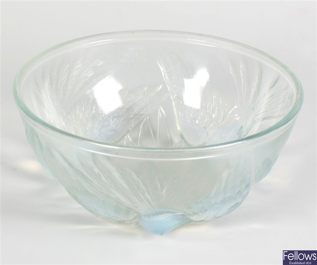 An early 20th century blue opalescent pressed glass bowl