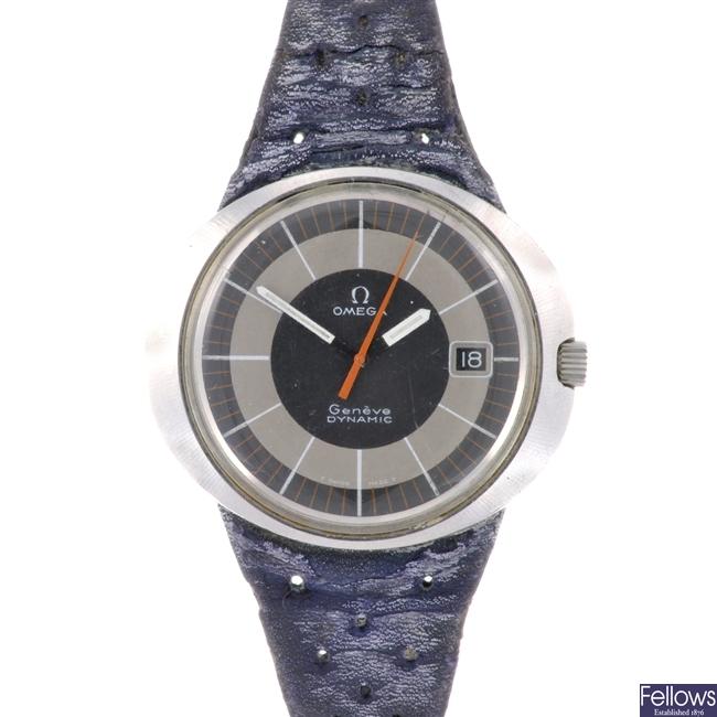A stainless steel manual wind gentleman's Omega Dynamic wrist watch.
