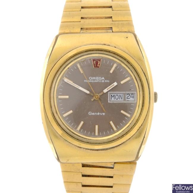 A gold plated quartz gentleman's Omega Megaquartz 32 KHz Geneve bracelet watch.