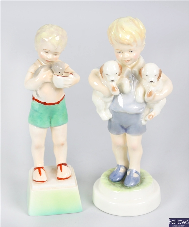Two Royal Worcester bone china figurines