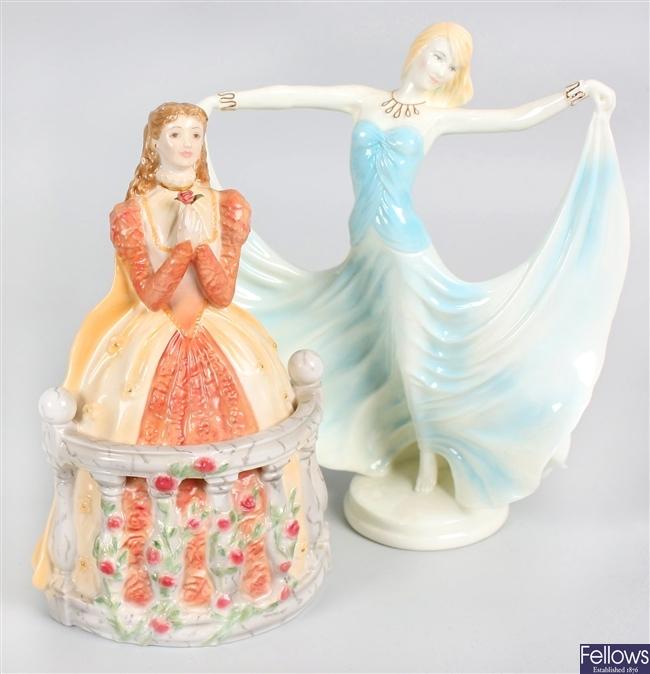 A Royal Worcester bone china figurine and a similar figurine