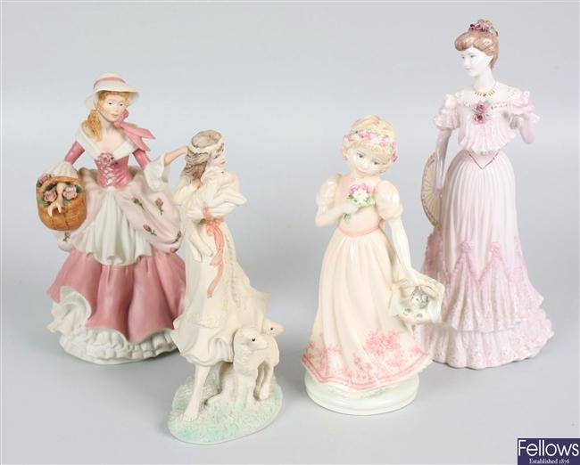 Three Coalport bone china figurines and a Wedgwood figurine
