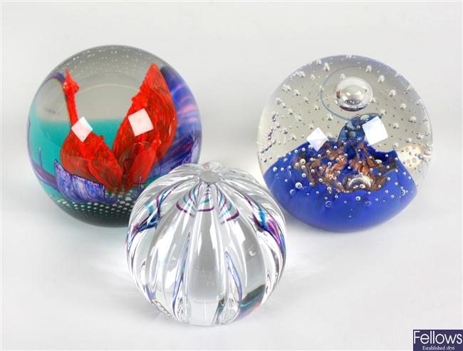 Six Caithness glass paperweights