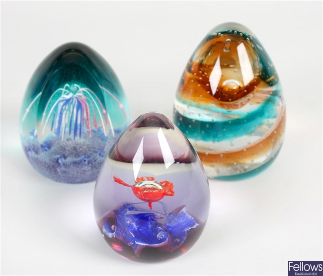 A selection of glass paperweights