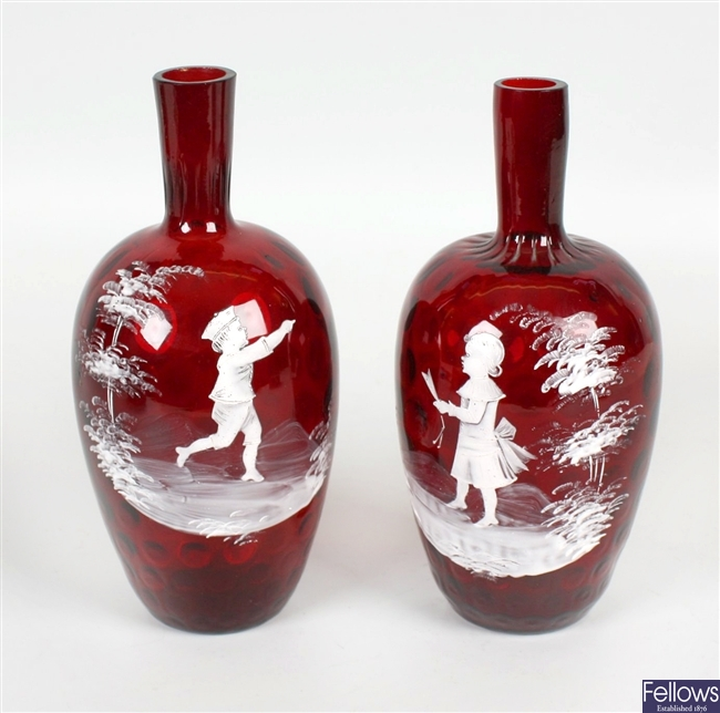 A pair of 19th century ruby glass vases
