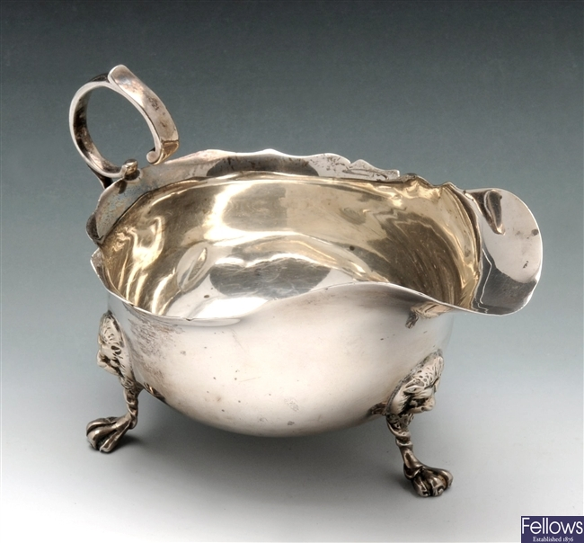 Early twentieth century small silver sauce boat.