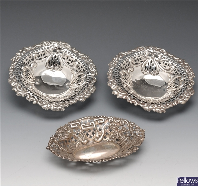 A pair of Victorian silver bonbon dishes etc.