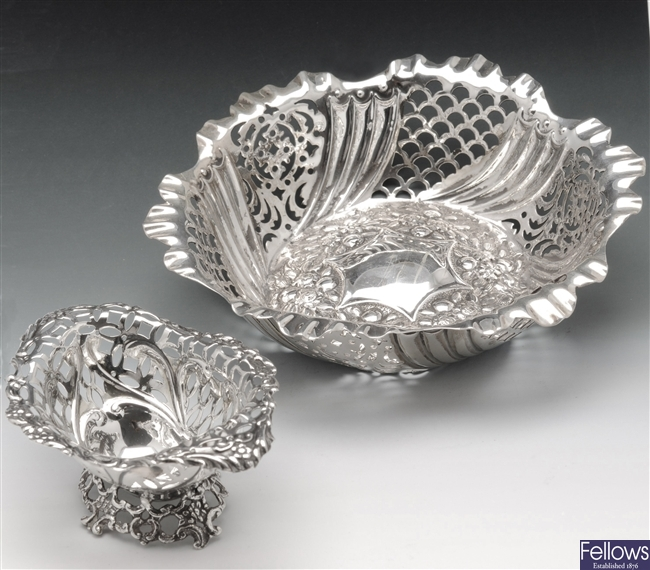 Two Victorian silver bonbon dishes.