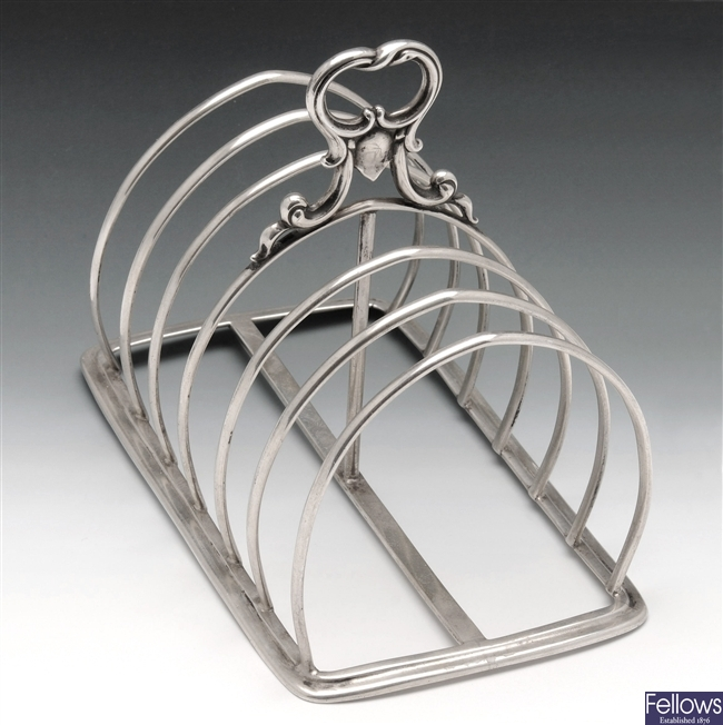 Victorian silver toast rack.