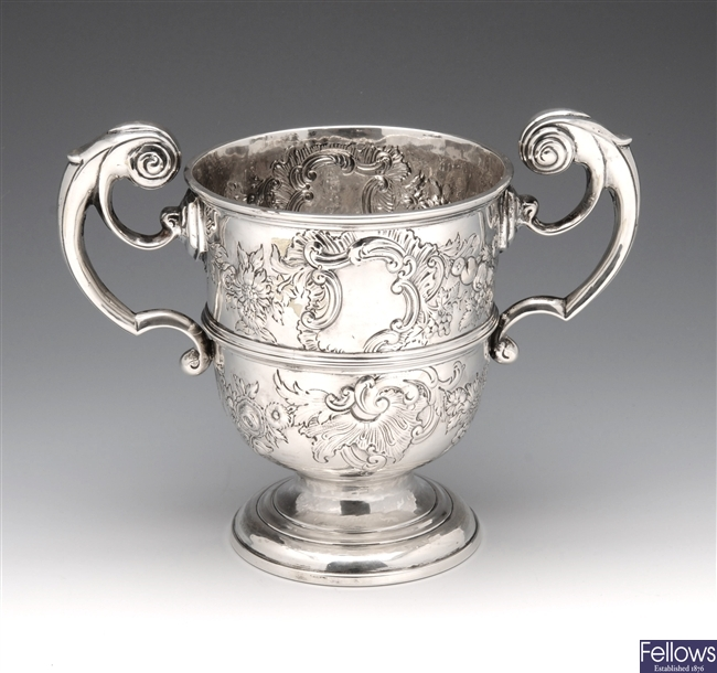 George II silver twin handled cup.
