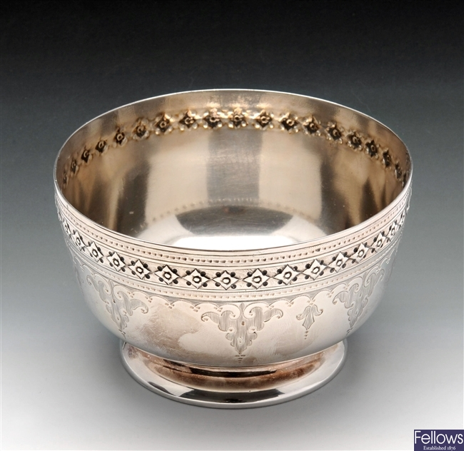 Victorian silver christening bowl.