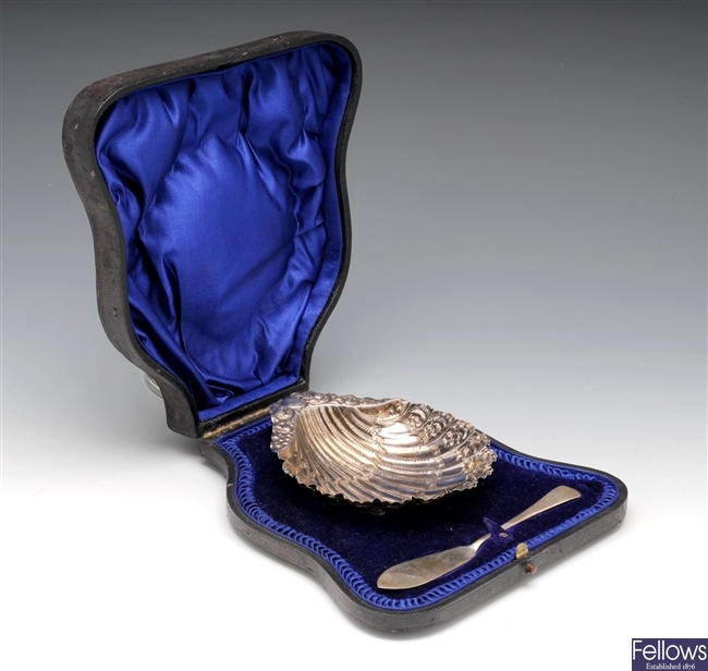 Edwardian cased silver butter dish.