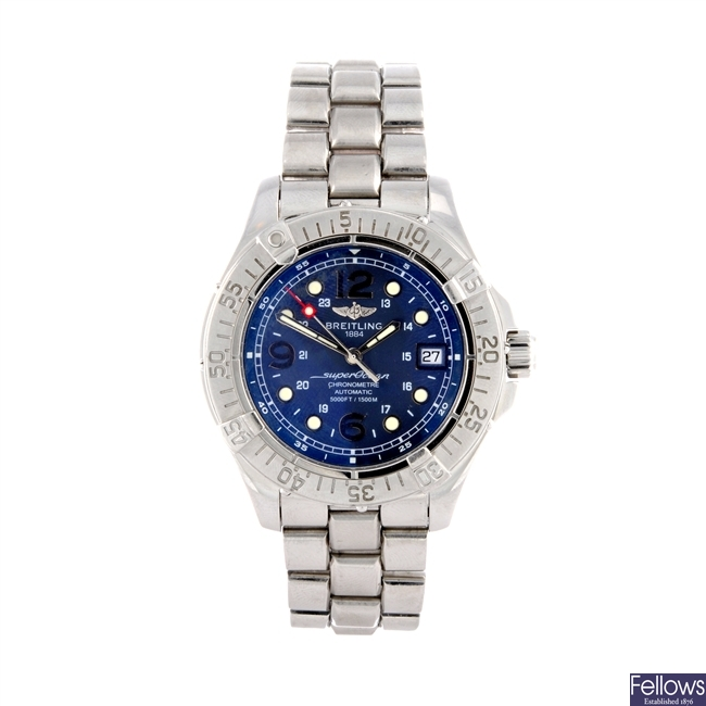A stainless steel automatic gents Breitling SuperOcean bracelet watch