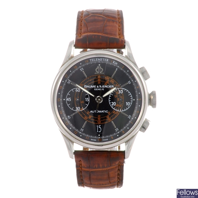 A stainless steel automatic chronograph gents Baume & Mercier wrist watch