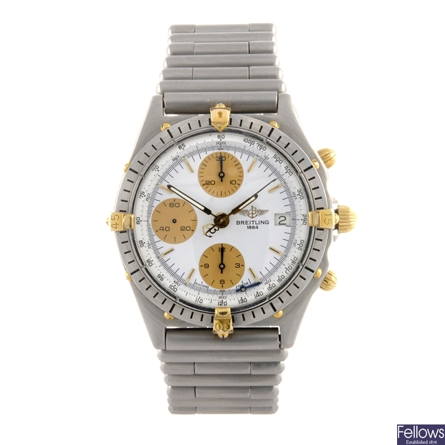 A stainless steel automatic gentleman's Breitling bracelet watch.