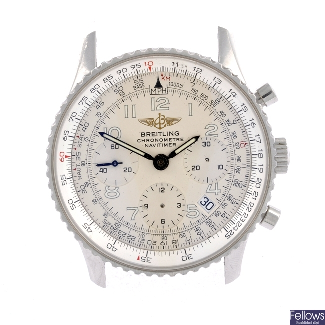 A stainless steel automatic gentleman's Breitling Navitimer bracelet watch.