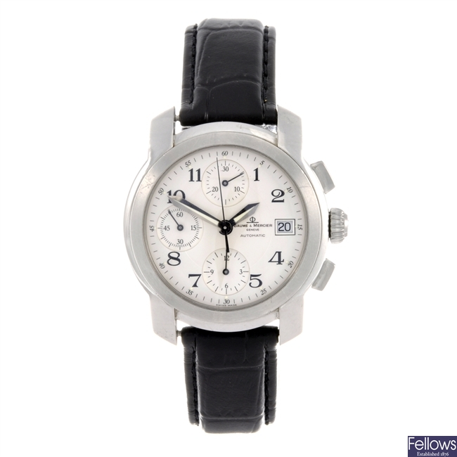 A stainless steel automatic chronograph gentleman's Baume & Mercier wrist watch.