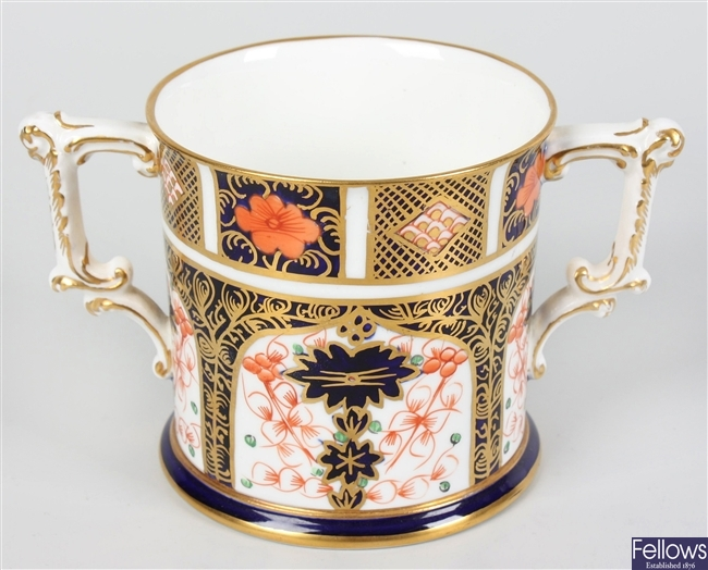 A Royal Crown Derby bone china loving cup