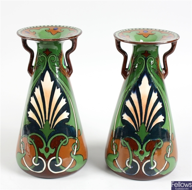 A pair of Shelley Intarsio vases
