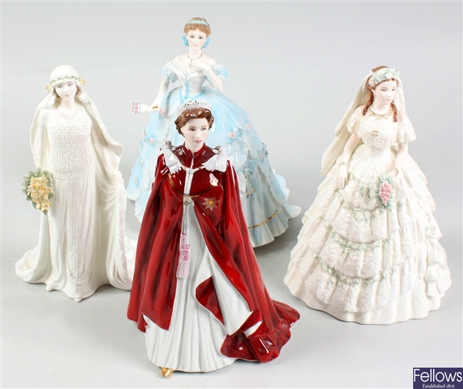 A selection of Royal Worcester, Royal Doulton and Coalport figurines
