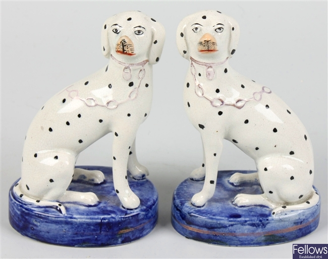 A pair of Victorian Staffordshire pottery dalmatians